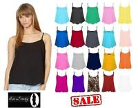 NEW WOMENS LADIES PLAIN SLEEVELESS STRAPPY SWING VEST CAMI CASUAL TANK TOP 8-14