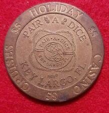 $5.00 Dollar Slot Machine Gaming Token Coin Holiday Pair A Dice Casino Florida 5