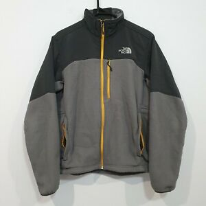 The North Face Dualie Fleece Full Zip Jacket Mens Medium Grey Yellow Polyester