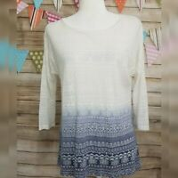 Maurices Burnout Shirt Size S White Blue Tribal Design 3/4 Dolman Sleeves Top