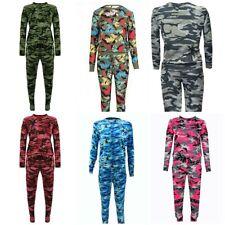 New Ladies Women Camouflage Army Loungewear Set Joggers Tracksuit Sweatshirt Set