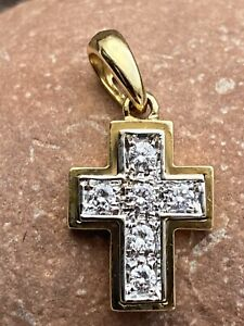 Anhänger Gold 750 er Mit Brillanten Kreuz 18 Karat Gelbgold Und Weißgold