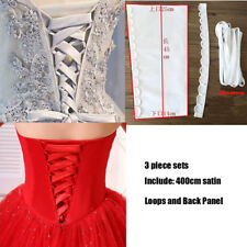 Loops+Back Panel 3 piece Set Satin Knit Corset Wedding Gown Zipper Replacement