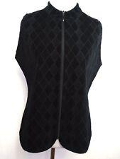 Chico's Travelers Women's Vest Black Full Zip Geometric Pattern size 0 ( Small)