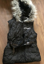 Girls Pineapple Sleevless Hooded Jacket/ Gilet With Belt Age 9/10