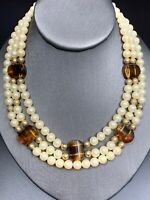"""Vintage Cream White Round Pearl 3 Strand Tortoise Shell  Accented Necklace  18"""""""