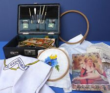 Lovely Vintage Leather Sewing Case Box & Assorted Contents 1920s+ Embroidery