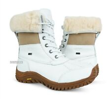 UGG Australia Adirondack II White Leather Boots Womens Size 8 ~NIB~