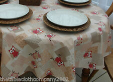 140 x 300cm Oval Wipe Clean PVC Tablecloth - Red Owls