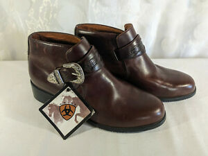 Ariat 16426 Brown Leather Ankle Boots Western Buckle Monk Strap US 6B