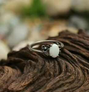 Elegant Floral-Themed Sterling Ring with White Opal ~ Size 6.5 ~