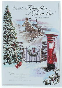 """Daughter & Son-in-Law Christmas Card - Tree House, Postbox With Snow 10.75x7"""""""