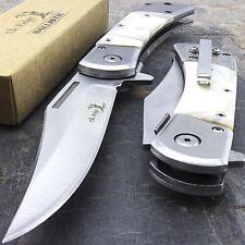 ERA009WP Couteau Elk Ridge Classic A/O Black Lame Acier 3Cr13 Manche Abs White