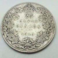 1913 Canada Twenty Five 25 Cents Quarter .925 Silver Canadian Coin C246