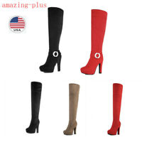 Women Suede High Platform Heel Knee High Over the Knee Winter Fashion Boots 5-11