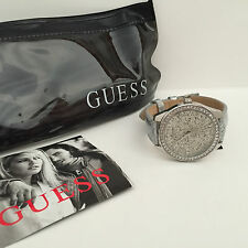 NEW! GUESS SWAROVSKI CRYSTALS SILVER LEATHER BRACELET WATCH $95 W0156L4 SALE