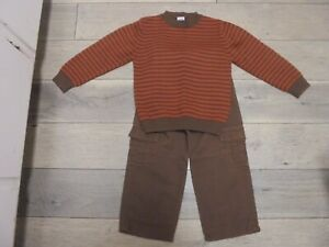 Gymboree Cowboy Trails striped sweater & brown pants outfit set size 4