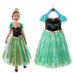 Queen Anna Cosplay Costume Girls Outfit Kids Party Fancy Dress Up