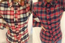 Women Plaid & Check Flannel Shirts Button Down Tops Blouse