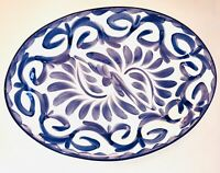 """SET OF 2 Puebla Blue/White Anfora For POTTERY BARN Oval Platters Mexico 12"""" NEW"""