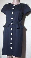 Vintage Valentino Navy 'Miss V' Laine Wool Button Down Front  Size 6 Italy