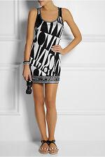 Missoni Black & White Printed Stretch-Jersey Tank Mini Dress 44 IT, 8 U.S NWOT