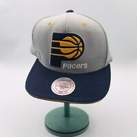 Indiana Pacers Mitchell & Ness Gray Yellow Blue Snapback Hat Cap NBA w/ Sticker