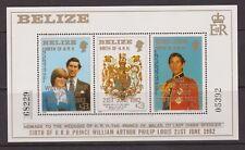 1981 Royal Wedding Diana MNH Stamp Sheet Belize William Birth Opt 1982 5392