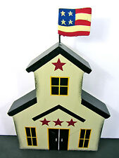 """4TH OF JULY SUMMER Americana Rustic Wood 9.5""""H Colonial Building Cutout USA Flag"""