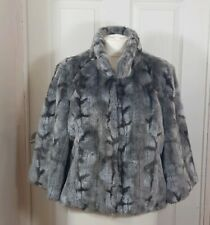 Per Una M&S Faux Fur Grey Silver Patterned Short Swing Jacket Coat Size Large