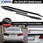 Fit 2016 2017 Accord Sedan Trunk Overlay Chrome Delete Blackout Kk Gloss Black