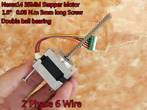 1.8 Degree Nema14 2-Phase Stepper Motor  long linear Screw Shaft Stepping Motor