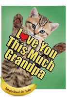 J6610HFGG Jumbo Humorous Father's Day Card: Cat Love You This Much Grandpa
