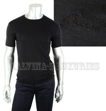 $445 GUCCI MENS TOP BLACK COTTON JERSEY T-SHIRT LOGO SIGNATURE DETAIL sz XL