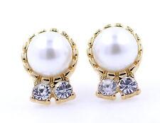 Imitación perla y cristal con color oro silueta pendientes de presión