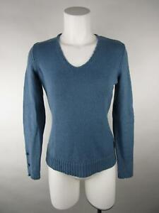 Ann Taylor Women Solid Blue Long Sleeve Merino Wool Crewneck Pullover Sweater XS