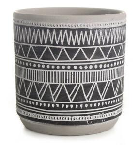 14cm Round Ceramic Flower Pot Black & White Zig Zag Design Planter Plant Pot