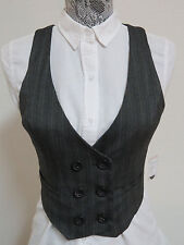 NEW Sz M Gray Striped FOREVER 21 JUNIORS Stretch Polyes #54F Suit Vest Waistcoat