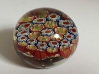 MURANO STUDIO STYLE RED,YELLOW,WHITE,BLUE MILLE FIORI ART GLASS PAPERWEIGHT