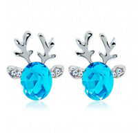 Xmas Fashion Christmas Crystal Deer Earrings Ear Stud Women Girls' Jewelry