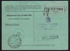 STORIA POSTALE RSI 1943 Ricevuta Ritorno da Bologna a Pieve di Cento (FSF)