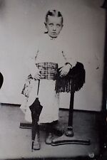3 Large 1/2 sheet tintypes of 1 family's children boy dressed as girl 1800's