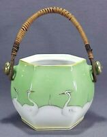 Vintage Ceramic Sugar Container Trinket Jar Wicker Handles Occupied Japan No Lid