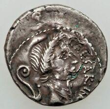 49-44 BC ROMAN REPUBLIC JULIUS CAESAR AR PLATED DENARIUS NGC CHOICE VERY FINE