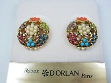 with Swarovski Crystals and Sandstones 0993 D'Orlan Gold Plated Clip on Earrings