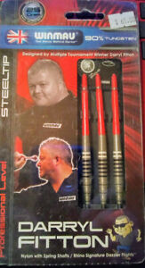 DARRYL FITTON (THE DAZZLER) STEEL TIP DARTS 25 GRAM 90%TUNGSTEN WINMAU