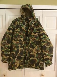 Vintage Duxbak Camo Duck Hunting Hooded Jacket Nylon Gore-Tex Insulated Size L