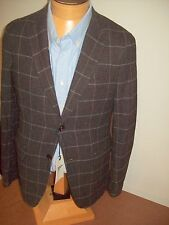 Gant by Michael Bastian 100 Wool Dark Brown Windowpane Sport Coat 38r