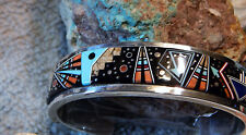 Sterling Silver Night Sky & Geo Designs micro Inlay Bracelet Navajo Calvin Begay