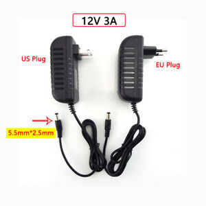 AC 100V-240V DC 12V 3A 3000MA Power Supply  Charger Adapter 5.5mm*2.5mm Plug
